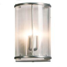 Rustikale Leuchtenserie - Wandleuchte 1-flammig - Stahl - Glas klar - 2 Farben - Stahlfarbig 1x 60 Watt, stahlfarbig