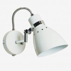Leuchtenserie im Retrodesign - Wandleuchte  - Stahl - Weiss 1x 75 Watt, weiß