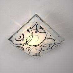 Moderne Deckenleuchte mit Dekorglas 22 cm x 22 cm