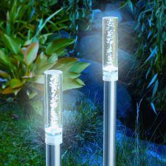 LED Solarleuchte im 2er Set, Leuchtstab mit eingeschlossenen Luftblasen