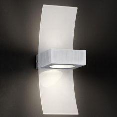 Wandleuchte aus Aluminium gebürstet und Plexiglas weiß satiniert
