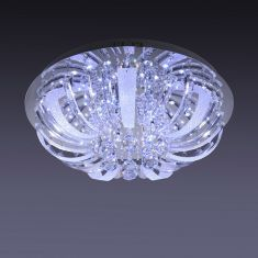 Deckenleuchte in Chrom mit LED und Halogen Lichtern und Glasbehang  inkl. 10x 14W G4  + LED Taschenlampe
