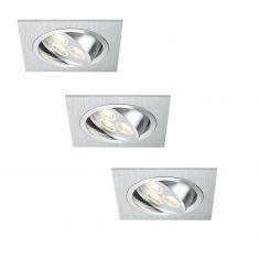 LED-Einbauleuchten Set in Aluminium-gebürstet 3W LED 40°schwenkbar