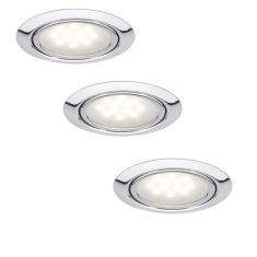 3er Set LED-Einbauleuchten in Chrom, 3x 1W LED silber, Chrom