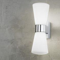 Badleuchte in Chrom IP44, Glas weiß, Energie-Saver Leuchtmittel inklusive