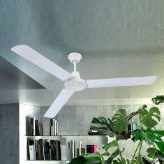 Deckenventilator mit Flügeln aus Eisen in Weiß - inklusive LED-Taschenlampe