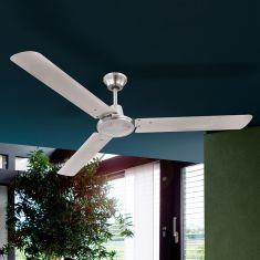 Deckenventilator mit Flügeln aus Eisen in Nickel-matt - inklusive  LED-Taschenlampe