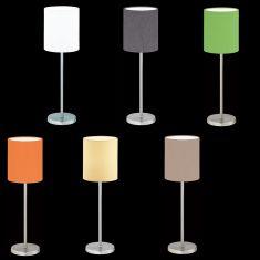 Tischleuchte Linus Z Nickel-matt, Chintz-Stoffschirm 6 Farben