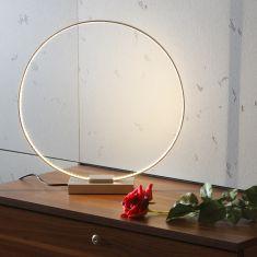 Effektvolle Tischleuchte inkl. LEDs und Schalter - silberfarbene Oberflächenausführung
