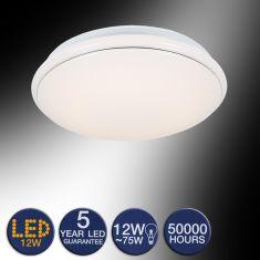 LED-Deckenleuchte in weiß mit Zierring in Chrom