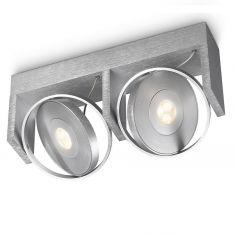 Funktionelle LED-Deckenleuchte - 2-flammig - Aluminium - Schwenkbare Spots