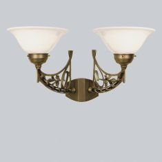Berliner-Messing-Wandleuchte mit Opalglas geschwungen Ø 22cm zweiflammig 2x 60 Watt, 32,00 cm
