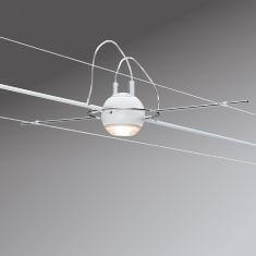 Seilsystem LED-Komplett-Set in Weiß, 2 x 7 m - 4 dekorative LED-Spots