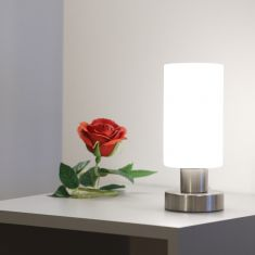 Klassische Tischleuchte - Nickel-matt - Opalglas - Inklusive LED