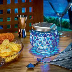 Solar-Tischleuchte mit dem tollem Lichteffekt, Leuchtdauer max. 8 Std., Mosaikfarbe blau blau