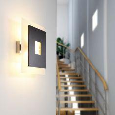 Elegante Wandleuchte - Glas - Wenge-Holz Wandlampe Beleuchtung Design Neu