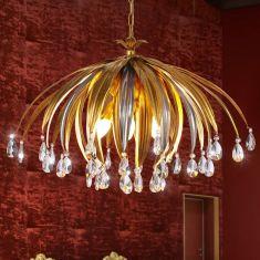 Extravagante Pendelleuchte - Handgefertigt in Italien - Blattgold und -silber - Kristallbehang - 5-flammig