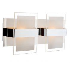 Moderne 2-flammige Wandleuchte mit satiniertem und klarem Glas - warmweiße Lichtfarbe