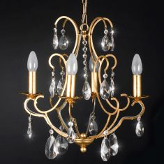 Eleganter Kronleuchter  Blattgold - Bleikristallbehang - 4-flammig