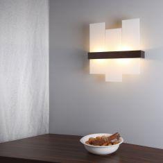 Stilvolle Wandleuchte aus wengèfarbenem Holz mit weißem Glas - 52 cm x 55 cm 2x 52 Watt, 52,00 cm, 55,00 cm