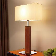 Tischleuchte Piolo 70 cm, Chintz-Schirm, Holzständer, Chrom oder Nickel-matt