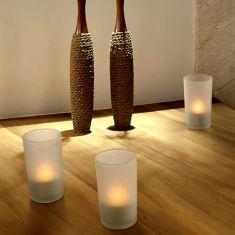 3er-Set LED-Tischleuchte im Teelicht-Look zum Aufladen - satinierte Gläser
