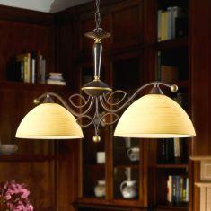 Klassisches Doppelpendel mit champagnerfarbenen Glasschirmen