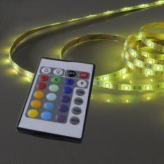 Lichtstreifen, 5m-Rolle 1xLED-Board, 28Watt  RGB IP20, mit Fernbedienung, individuell kürzbar