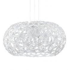 Moderne Pendelleuchte aus weißen Blüten mit Kristallelementen