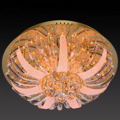 Kristall-Lichtobjekt Ø50cm, inklusive 10x Halogen und 88x LED-Leuchtmittel in amberfarbig, Steuerung per Fernbedienung