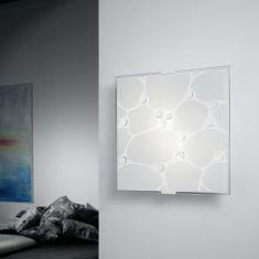 Ausgefallene Wand- oder Deckenleuchte aus Stahl mit weißem Strukturglas und Glassteinen