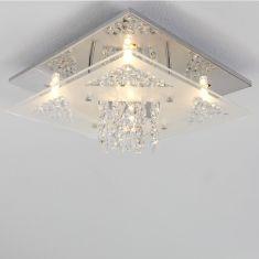 Deckenleuchte mit funkelndem Kristallbehang, inklusive 5 x G9 33Watt Leuchtmittel
