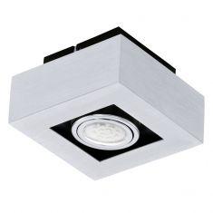 Moderne LED-Aufbauleuchte mit Stahl und Aluminium in chrom und schwarz - 14 cm x 14 cm 1x 3 Watt, 14,00 cm, 14,00 cm, Ja