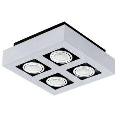 Moderne LED-Aufbauleuchte mit Stahl und Aluminium in chrom und schwarz - 25 cm x 25 cm 4x 3 Watt, 24,00 cm, 24,00 cm, Ja