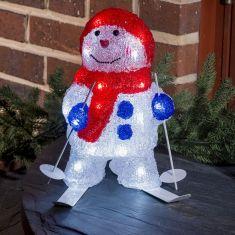 LED-Schneemann mit Ski - Acryl - Für den Außenbereich - 96 kalt weiße LED-Dioden - Inklusive 24 V Außentrafo
