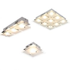 Moderne LED-Deckenleuchte, Glas teilsatiniert, 4 Größen