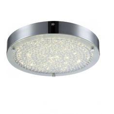 LED Deckenleuchte - Chrom - Kristall -  Ø 30cm, 1x 17Watt, 1900lm - inklusive  LED Taschenlampe