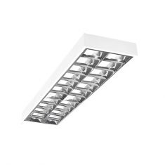 Büro-Aufbau-Rasterleuchte - Stahlblech weiss - Für Leuchtstoffröhren 2 x T8 36 Watt