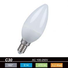 C35 Kerze LED E14 5,2W opal 2700K 230V 470lm 160° nicht dimmbar