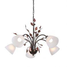 Filigrane Pendelleuchte im Florentiner Stil - Metall - Opalglas - Braun - 5-flammig
