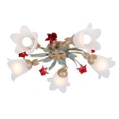 Filigrane Deckenleuchte im Florentiner Stil - Metall - Weiß/Gold mit roten Rosen - 5-flammig