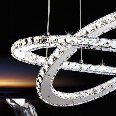 LED-Pendelleuchte rund Ø 55cm Verazzo Kristalle