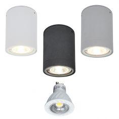 LED-Downlight aus Aluminium - verschiedene Oberflächen  -  inklusive warmweißer 7W LED, 2800°K
