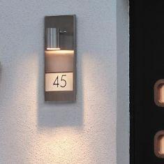 Wandstrahler mit Hausnummern zum Bekleben, Aluminium grau oder schwarz oder Edelstahl