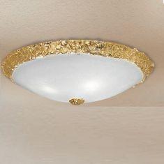 Edle Deckenleuchte - Glas - Rand Kristallglas - Gold gold/weiß