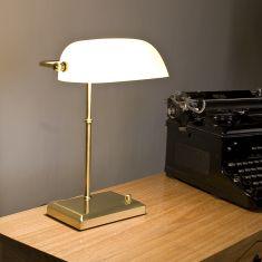 Bankerleuchte Bankerslamp - mit weißem Glas - über Drehdimmer dimmbar-Design