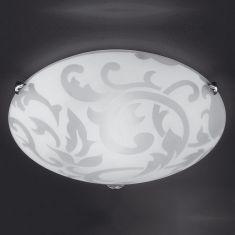 Deckenleuchte Ornamentik aus Glas Durchmesser 40cm 2x60Watt