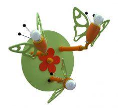 Deckenleuchte mit Schmetterlingen in grün und orange, 3-flammig