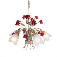 Filigrane Pendelleuchte im Florentiner Stil - Metall - Weiß/Gold mit roten Rosen - 5-flammig