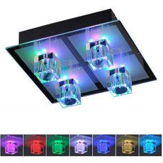 Kristall-Deckenleuchte 28x28cm in Chrom, inklusive Halogen und LED-Leuchtmittel RGB-Farbwechsel, Steuerung per Fernbedienung